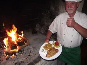 Bierschnitzel mit Kartoffelstäbchen