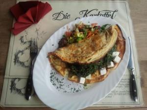 Kartoffelomlett mit Feta und Spinat