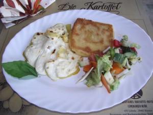 Griechische Kartoffeln mit Käseschnitzel