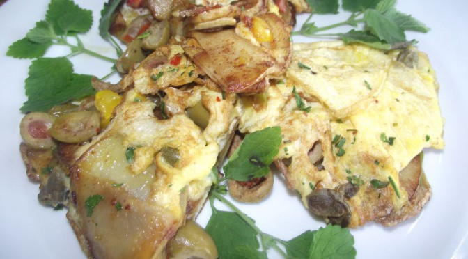 Kartoffelomelett mit Oliven