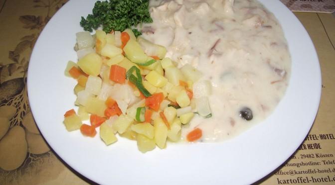 Kartoffelrisotto an Hühnerfrikassee
