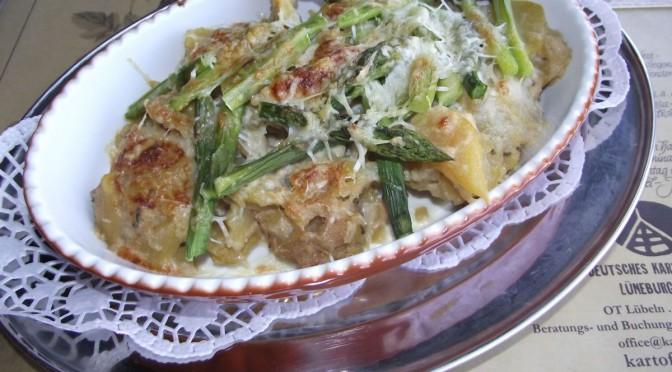 Kartoffelgratin mit grünem Spargel