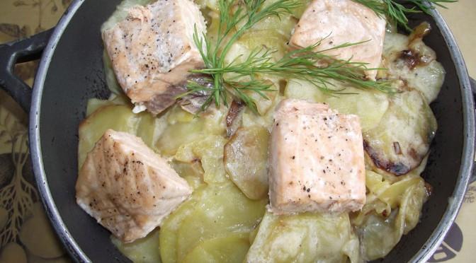 Sahne-Kartoffeln mit Lachs