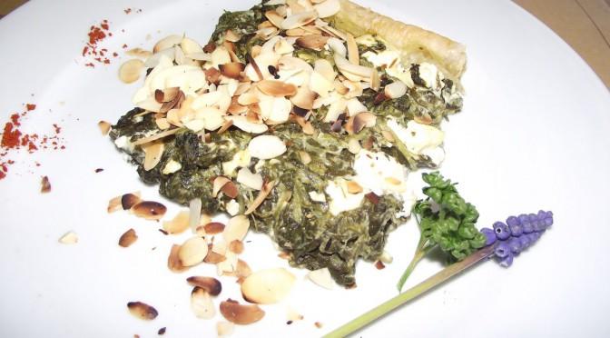Tarte mit Käse und Spinat