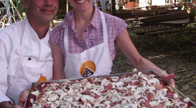 Pizza alle Patate con champignon e prosciutto crudo