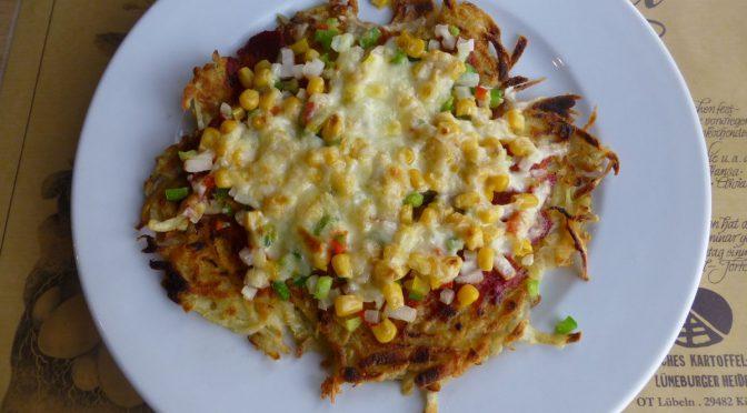 Kartoffelpizza mit Mais