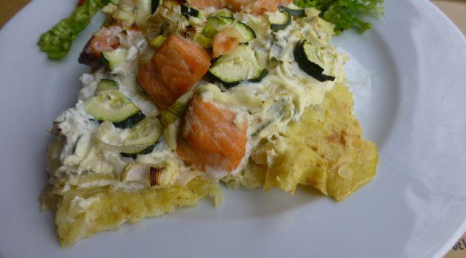 Kartoffelpizza mit Lachs