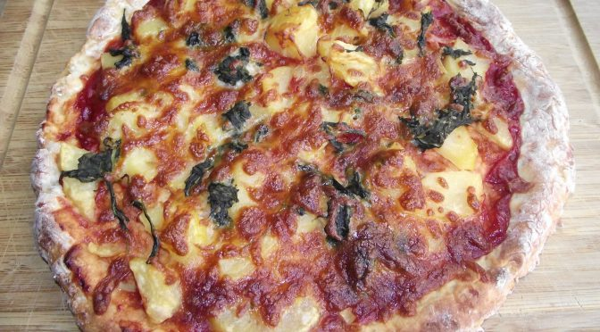 Kartoffelpizza mit Spinat