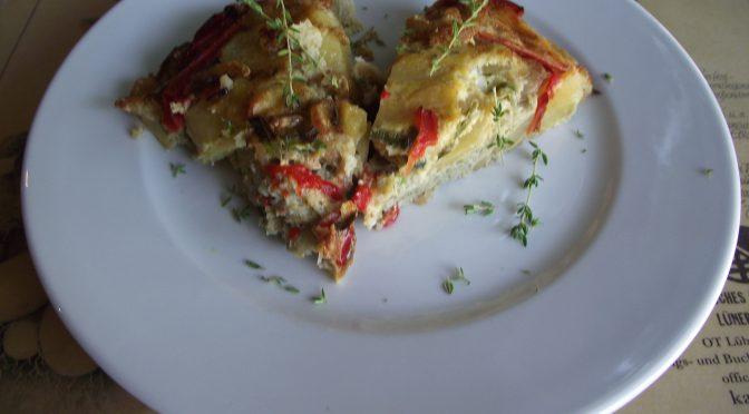 Kartoffel-Tortilla mit Shrimps