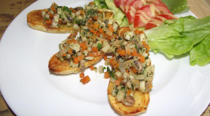 Kartoffelscheiben mit Häubchen