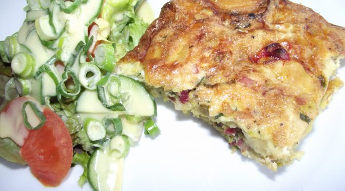 Petersilienwurzel – Tortilla mit Schinken