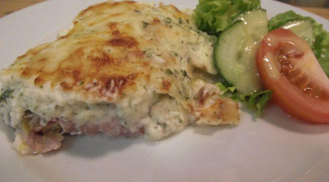 Chicoree-Auflauf mit Käse und Schinken