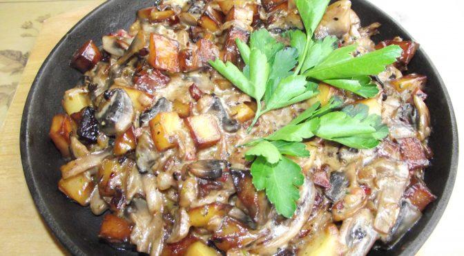 Champignon – Kartoffelpfanne mit Schinken