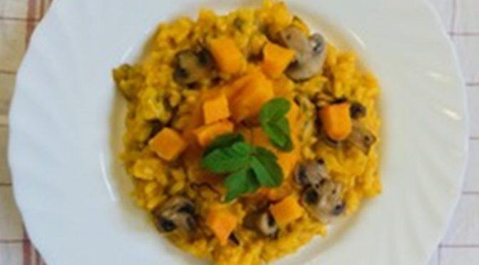 Kürbis Risotto mit Pilzen